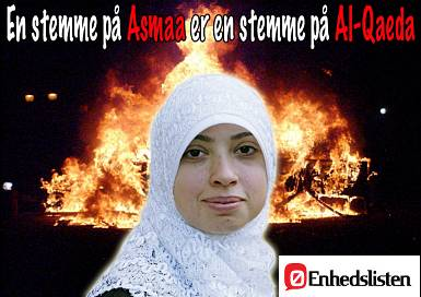 A vote for Asmaa is a vote for Al-Qaeda!