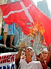 Danish flag burning