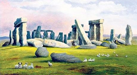 Sheep Grazing by Stonehenge, Richard Tongue 1830
