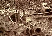 Skulls in a trench during the Great War