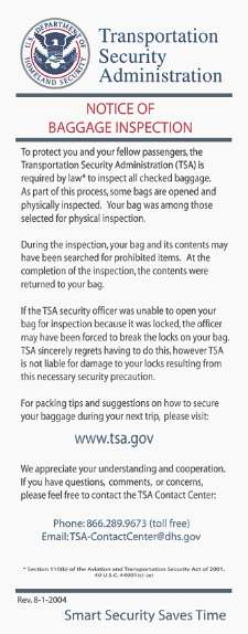 TSA notice