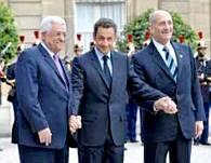 Mahmoud Abbas, Nicolas Sarkozy, and Ehud Olmert