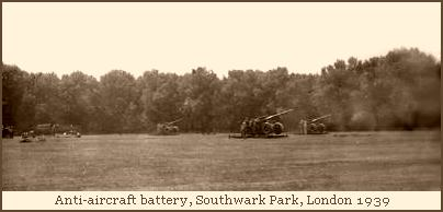 Anti-aircraft battery in Southwark Park, London, 1939