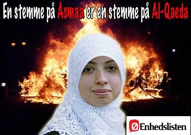 A vote for Asmaa is a vote for Al-Qaeda!