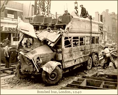 Bombed bus, London, 1940