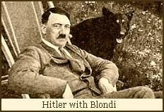 Hitler with his dog Blondi in the Reichskanzlei garden