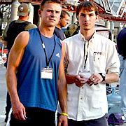 Duke University students, Hans Buder and Sonny Byrd, outside the New Orleans Convention Center