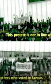 Protest at the EU parliament