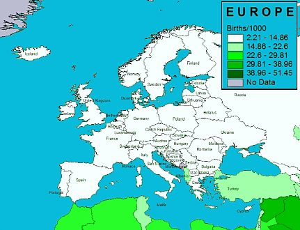 Birth rates in Europe