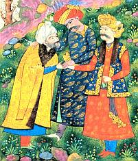 Sultan Mehmud Ghaznawi with his lover Ayaz greets the Sheykh