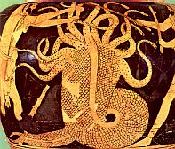 Herakles destroys the Hydra
