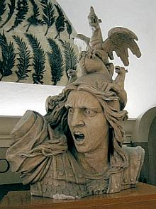 The face of the allegorical representation of France calling forth her people