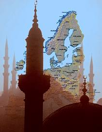 Map of Europe with minarets