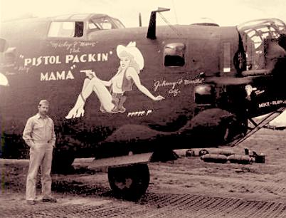 Pistol Packin' Mama on the side of a B 24