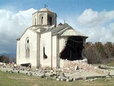 Damaged church in Podujevo