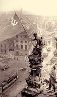 Raising the Soviet flag over the Reichstag, May 2, 1945