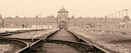 The tracks leading into Auschwitz-Birkenau